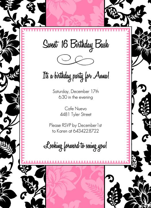 40th Birthday Ideas Teenage Girl Birthday Invitation Templates Free