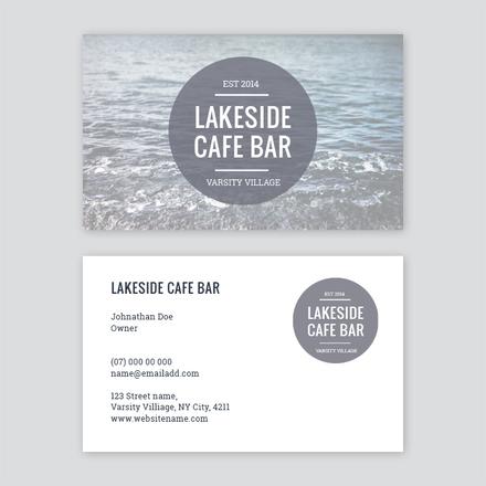 Cafe Bar Circle Logo Business Card Template - Easil