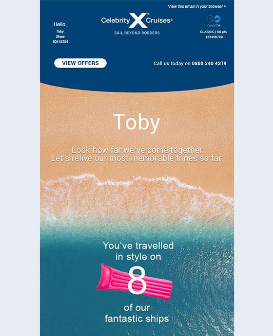 Celebrity Cruises Triples Email Revenue With Loyalty Campaign 11/14/2017 - personalized e mail