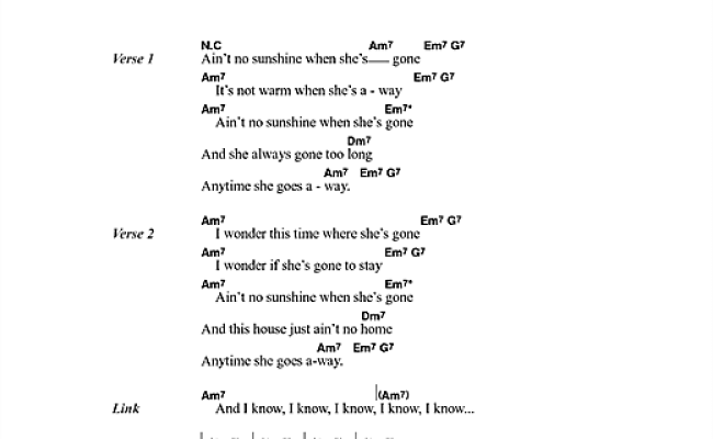 Ain't No Sunshine Sheet Music By Bill Withers (lyrics & Chords – 45604)