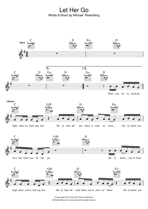 Let Her Go Acoustic Guitar Tabs - LTT
