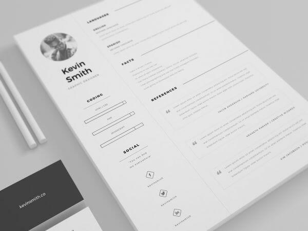 minimalist resume template illustrator
