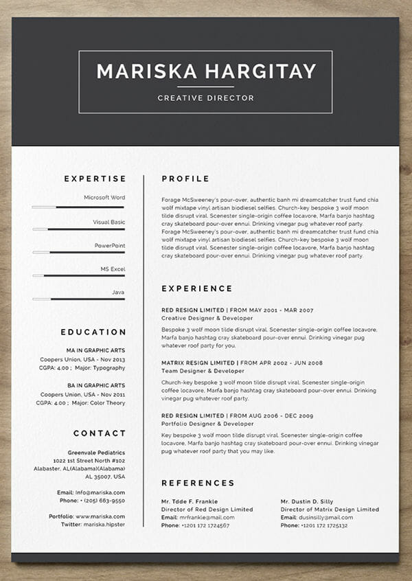 24 Free Resume Templates to Help You Land the Job - creative resume template word