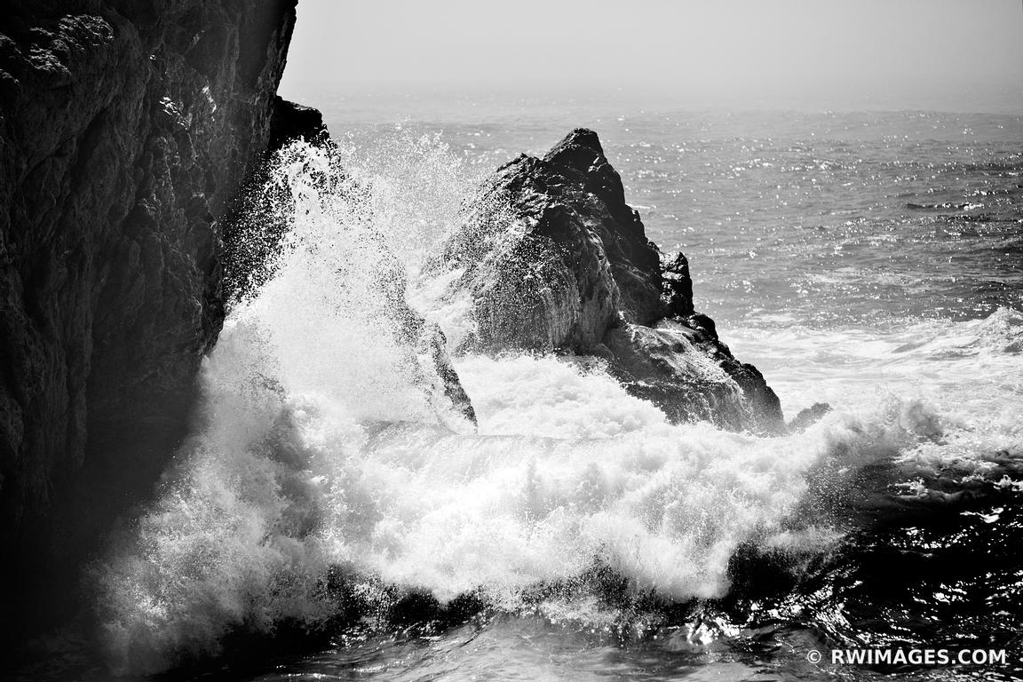 Large Black And White Posters Framed Photo Print Of Big Sur Waves Pounding The Rocky