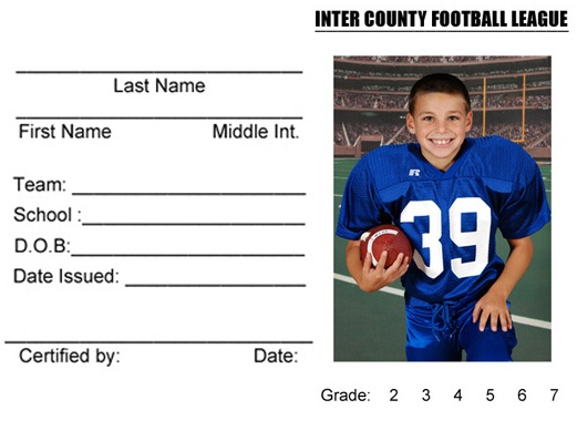 Inter County Football League - (Schwenksville, PA) - powered by - sample id cards