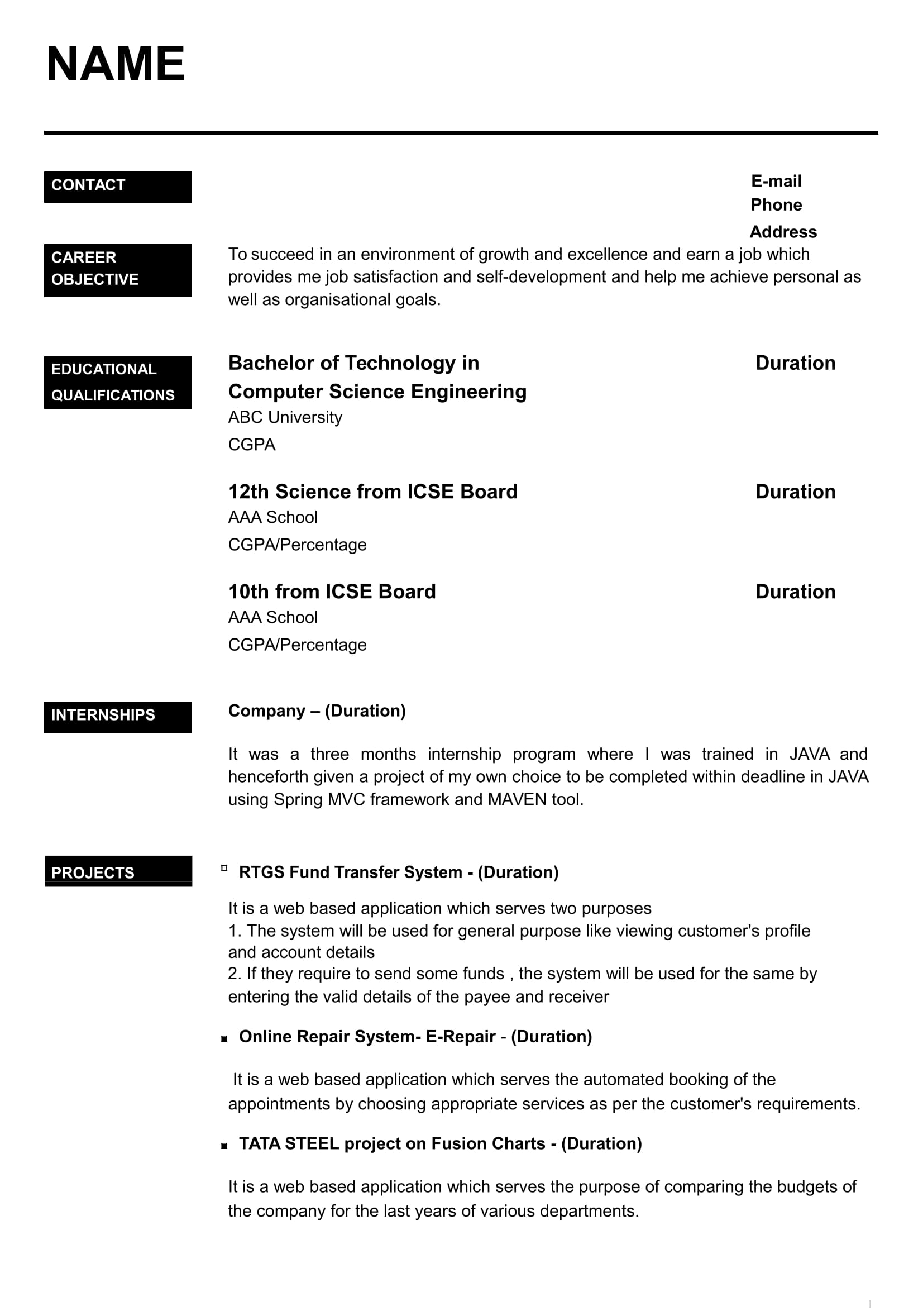resume for internship for cse