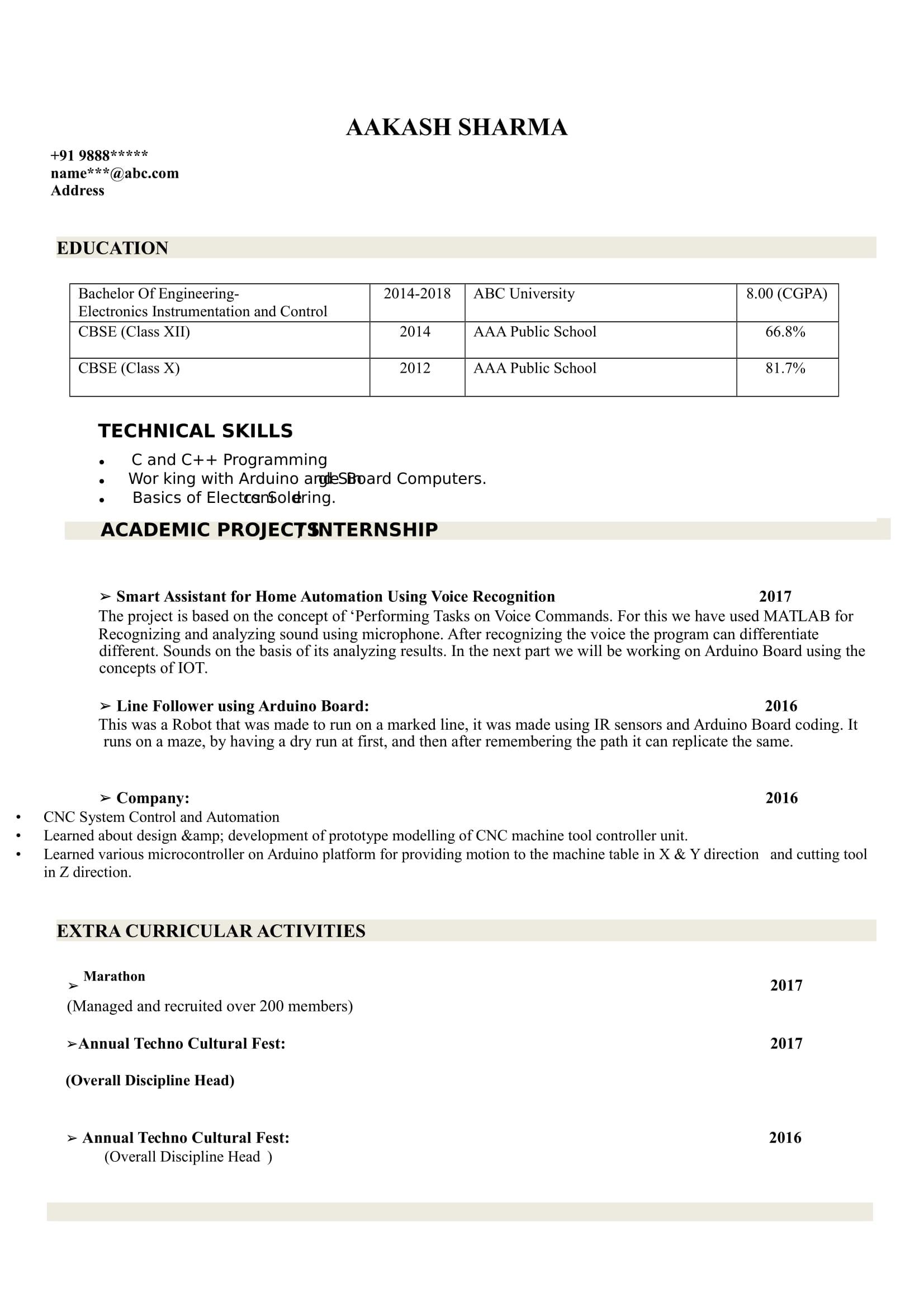 sample electronics and instrumentation intern resume