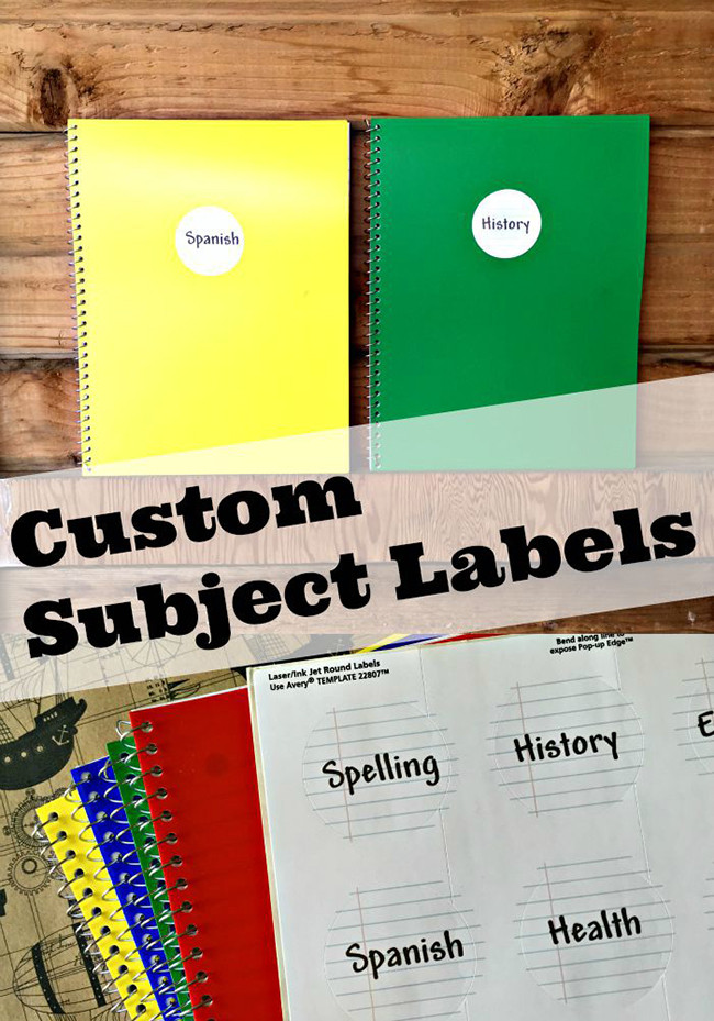 Easy Custom Subject Notebooks with Avery Labels - MyPrintly
