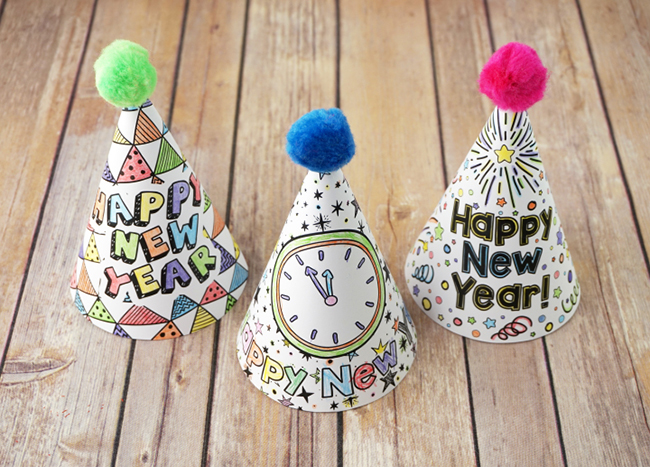 Printable New Year\u0027s Eve Party Hats - MyPrintly