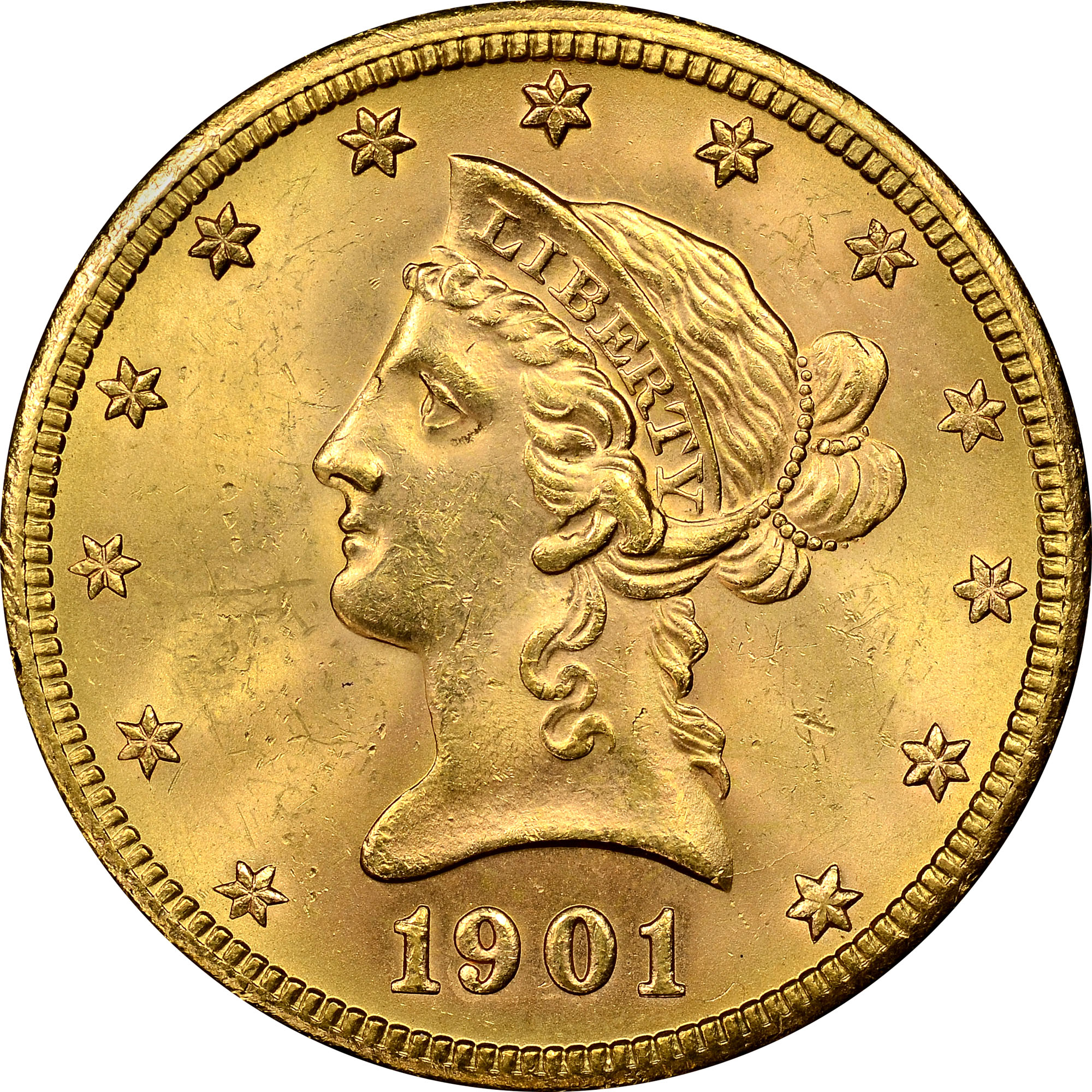 Gold S 1901 S 10 Ms Liberty Head 10 Ngc