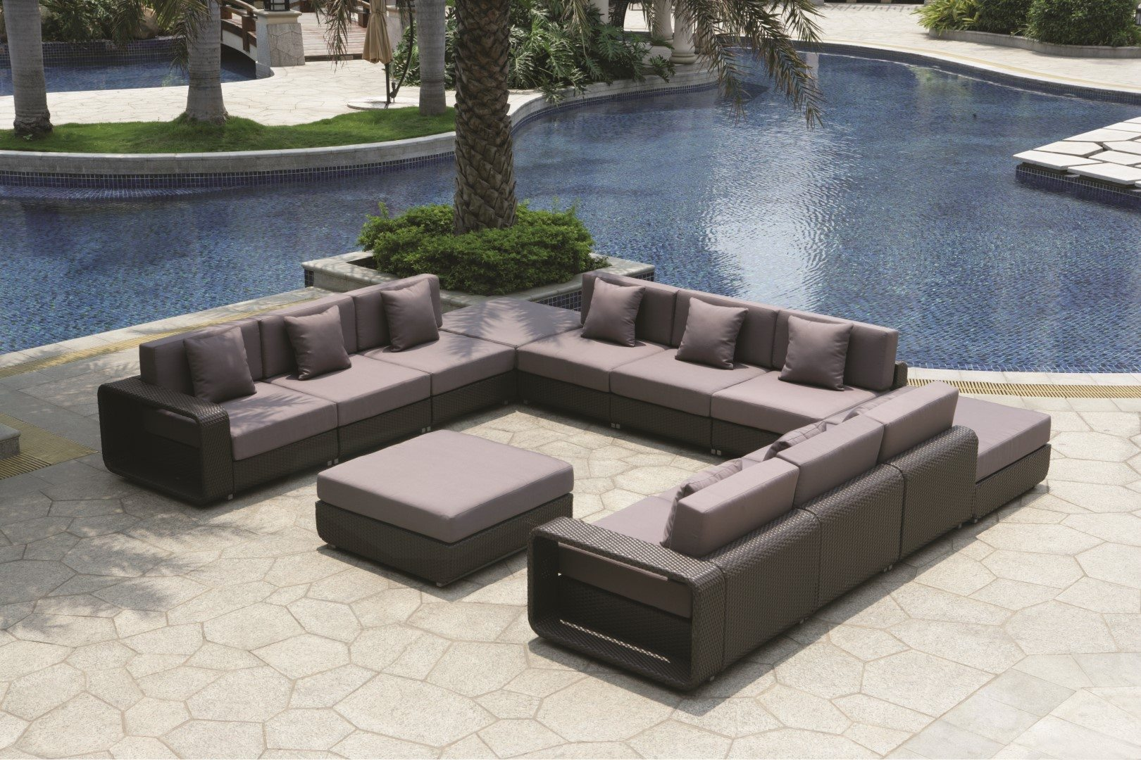 Rattan Sofa Corner Set Brown Rattan Furniture Set