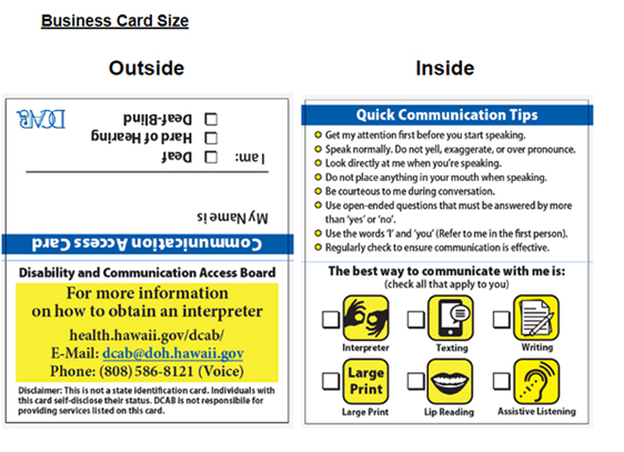 Communication cards available for deaf people News, Sports, Jobs