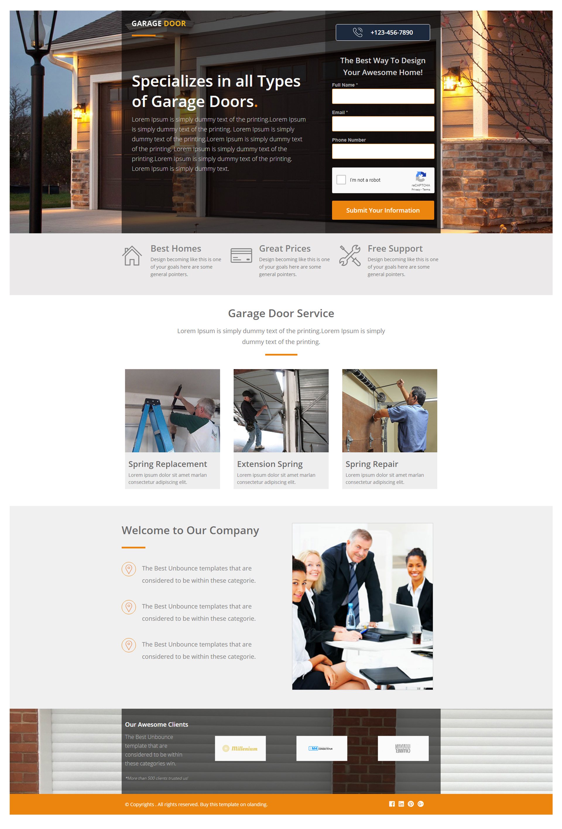 Garage Design Template Professional Garage Door Repair Services Landing Page Template
