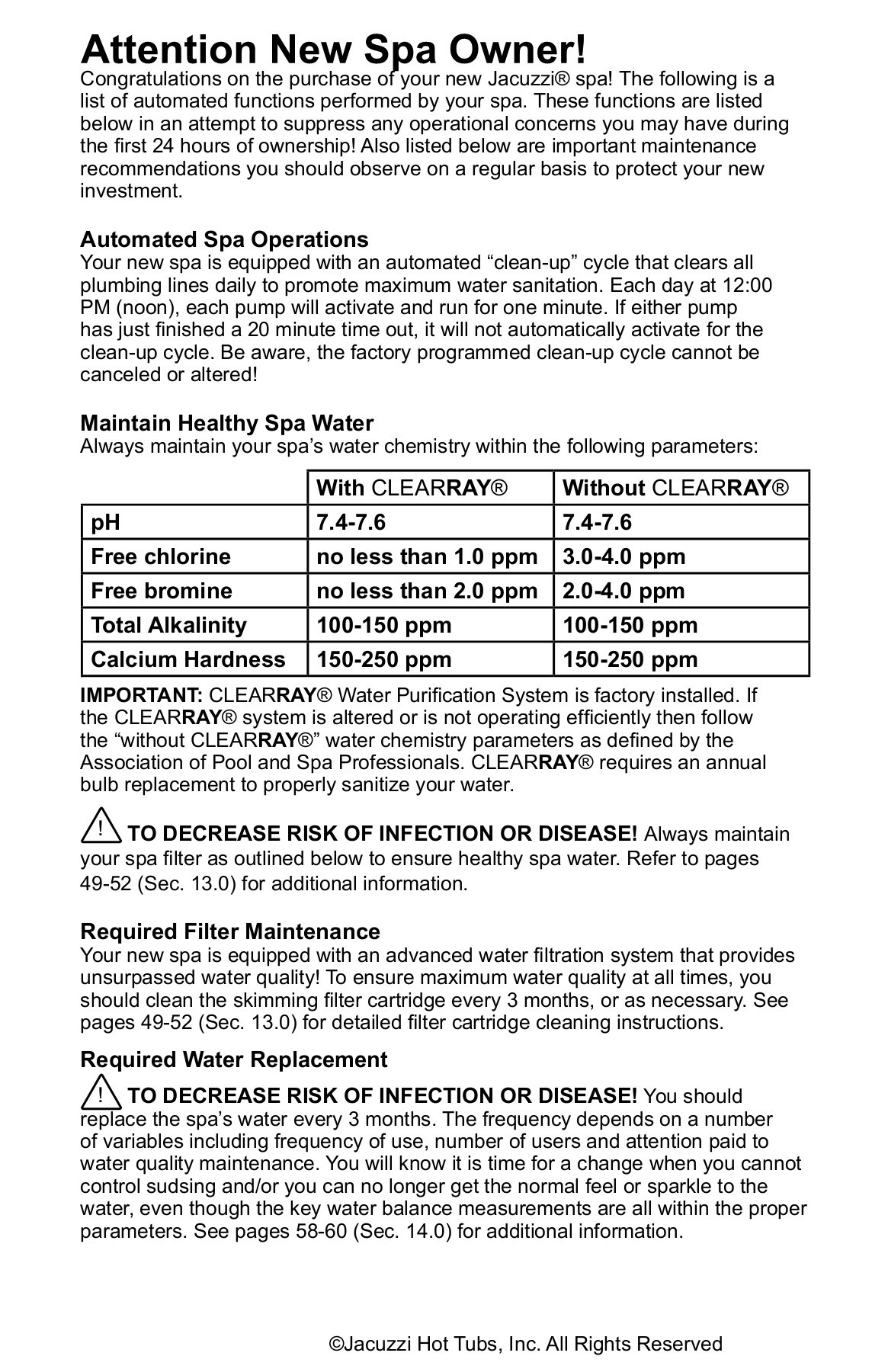 Jacuzzi Pool Filter Manual J 500 Series Owners Manual Jacuzzi In Iowa