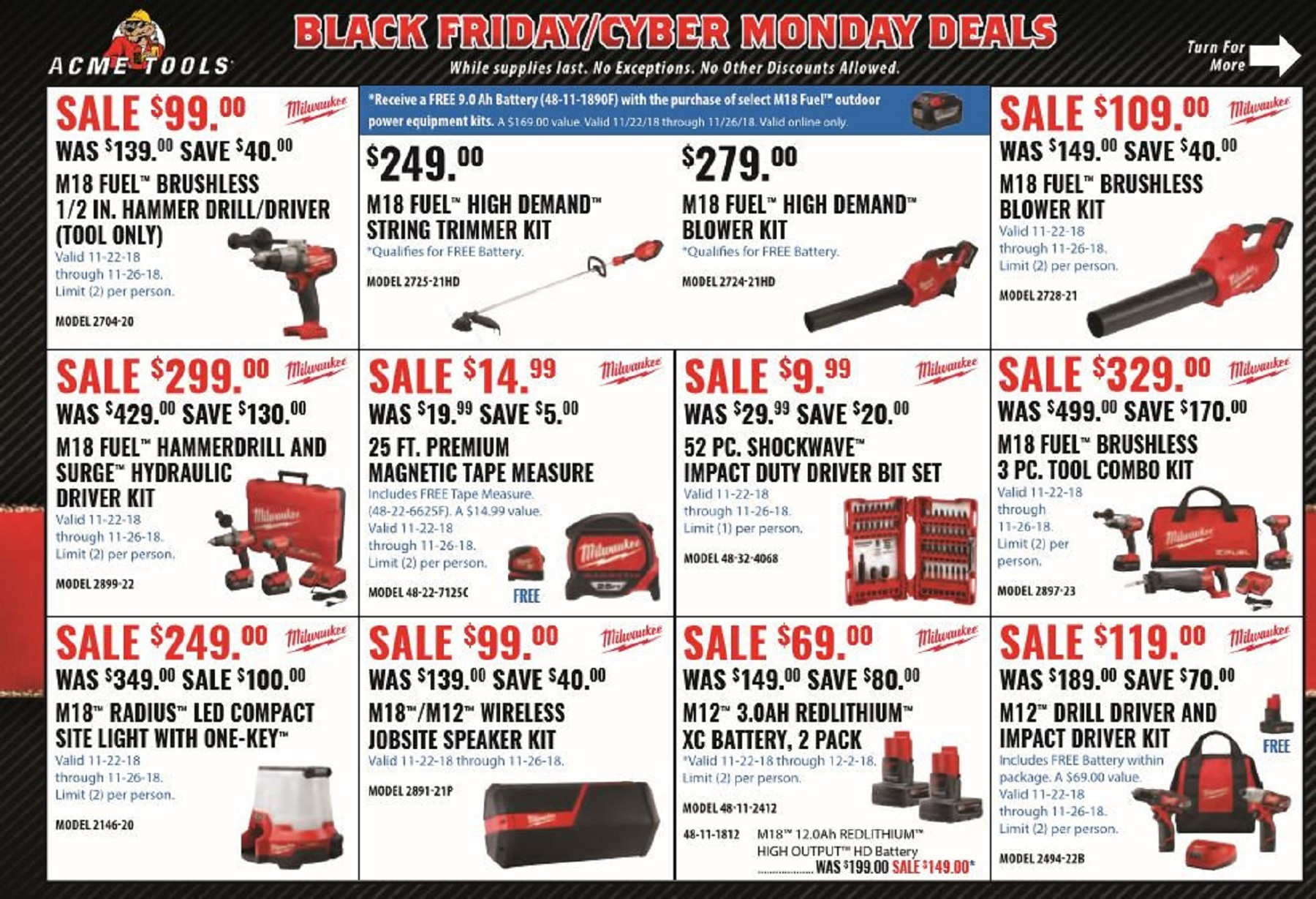 Ah Black Friday Hot Deal Acme Tools Black Friday 2018 Ad Scan With Links Tool