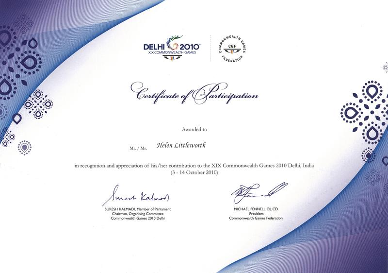 Delhi 2010 XIX Commonwealth Games Certificate of Participation - design of certificate of participation