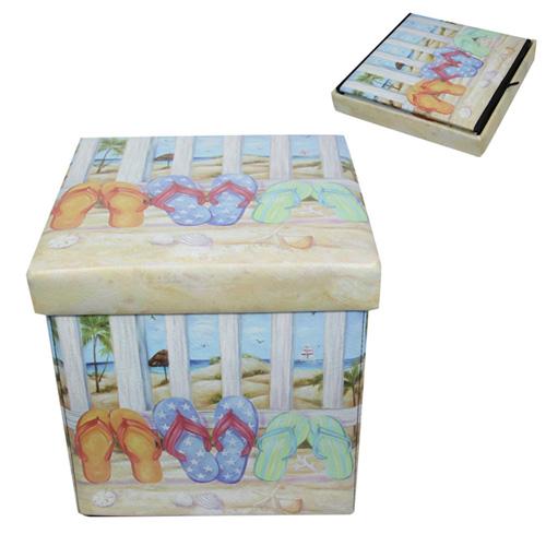 1pce 35x35cm Beach Themed Storage Box Stool With Seaside