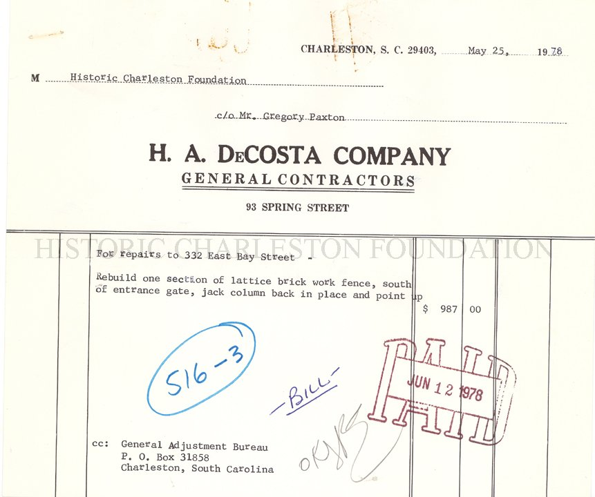 HA DeCosta Company Invoices - Invoice - company invoices