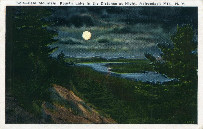 Bald Mountain, Fourth Lake In the Distance at Night, Adirondack Mts