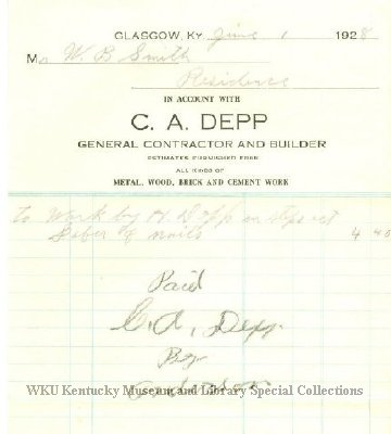C A Depp, General Contractor and Builder, Glasgow, Ky invoice