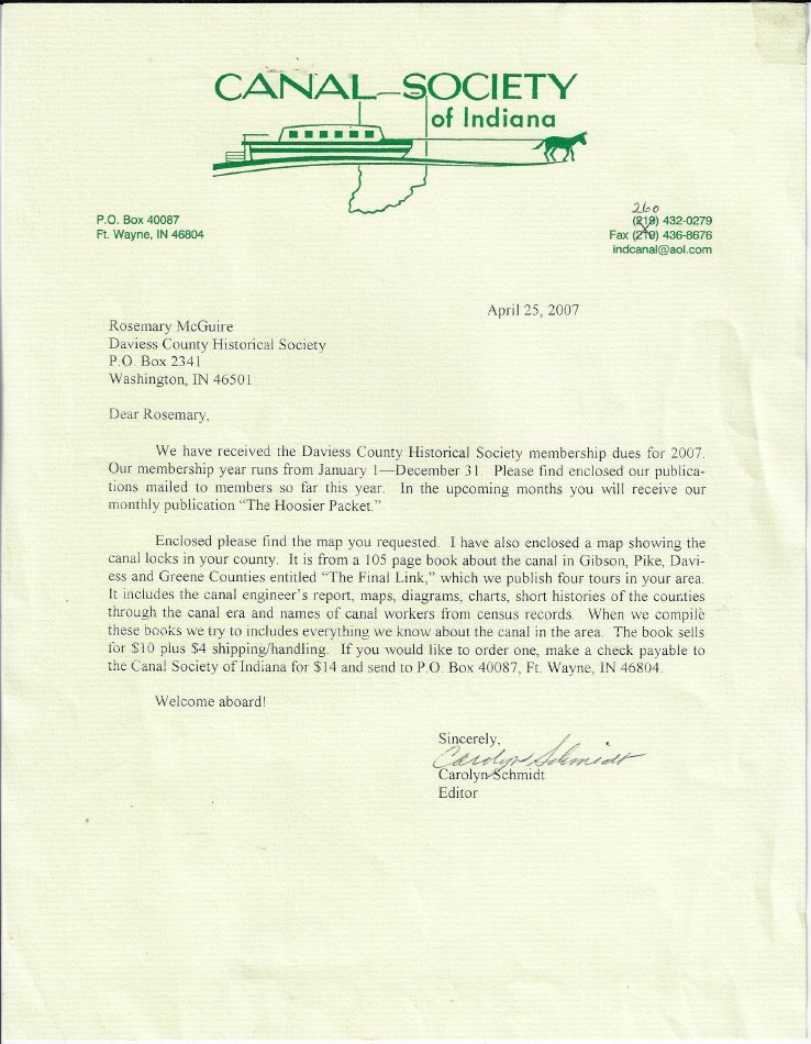 2007 letter from Canal Society of Indiana - Letter