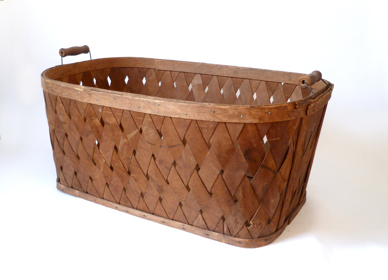 Closed Laundry Basket Large Vintage Split Wood Handled Laundry Basket