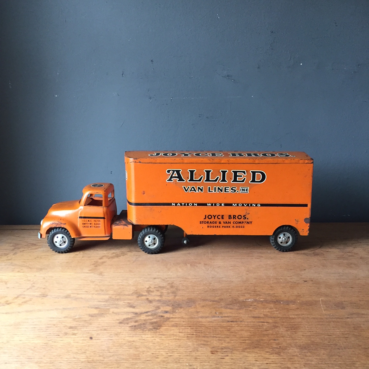 Toy Moving Truck 1950s Tonka Orange Metal Moving Truck Mcm Toy Apartment