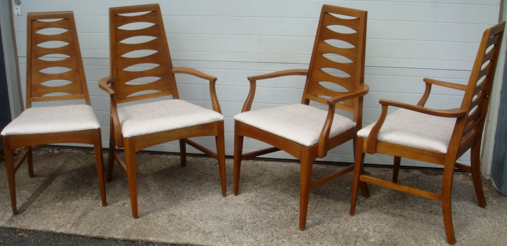 Mid Century Set Of 4 Dining Chairs One Armless