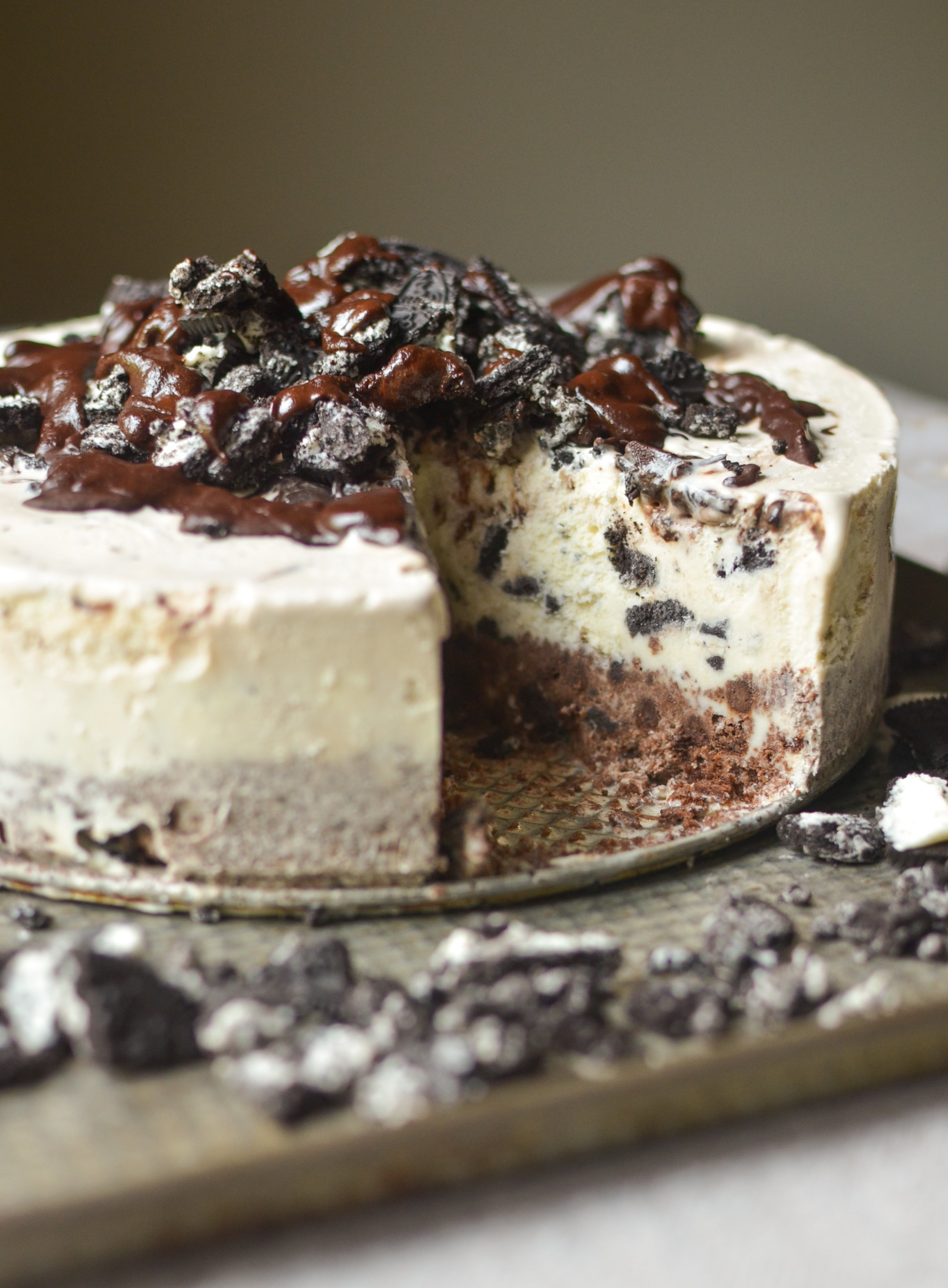 Vegane Oreo Torte Frozen Chocolate Oreo Ice Cream Cake