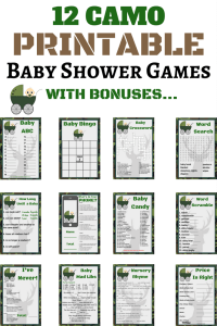 camo baby shower games