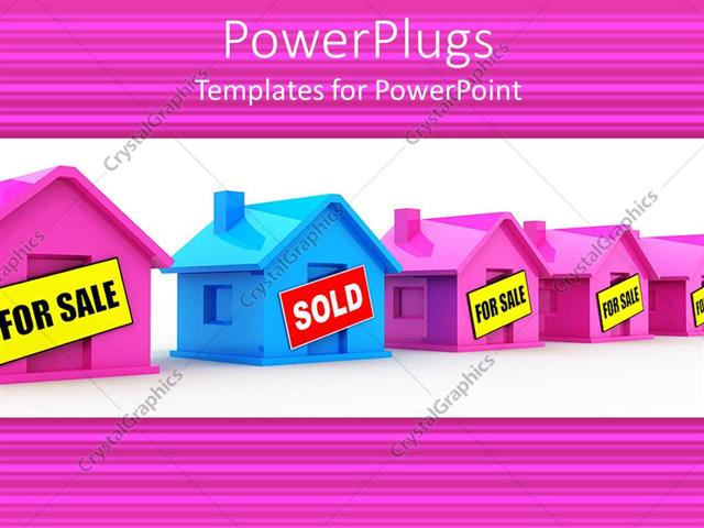PowerPoint Template 3D blue house with sold sign with pink houses