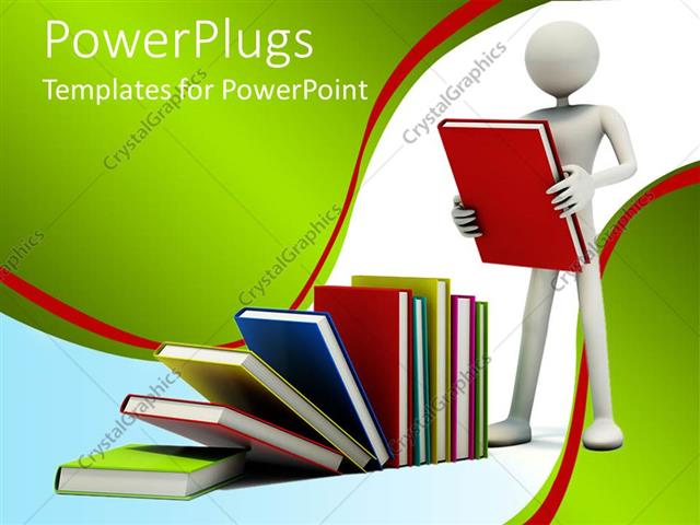 PowerPoint Template a 3D character holding a book with other books - powerpoint books