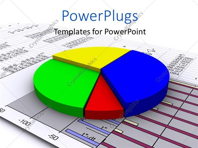 PowerPoint Template a 3D multi colored pie chart on a graph paper - graph paper powerpoint