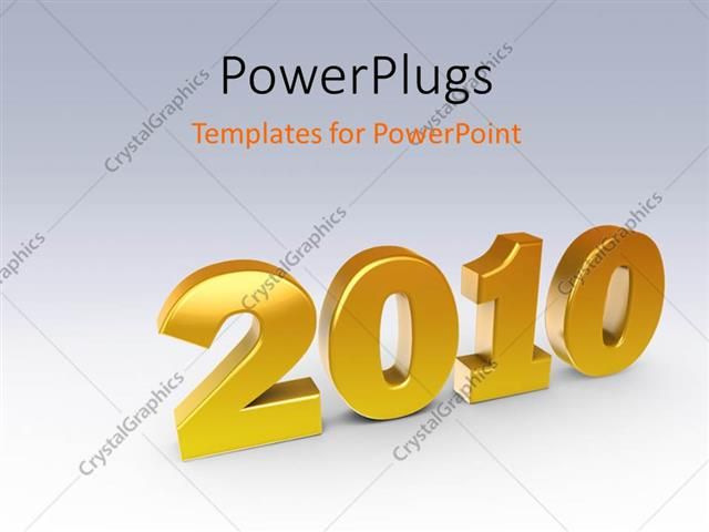 PowerPoint Template 3D perspective of year 2010, with gradient (18)