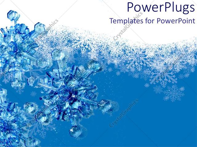PowerPoint Template 3d snowflakes blue and white backgrounds snow