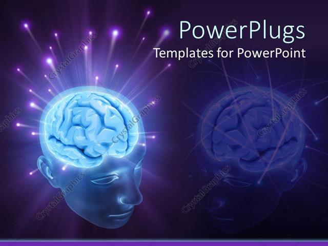 PowerPoint Template 3D transparent head depicting glowing brain