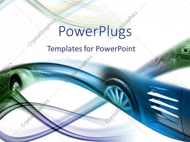 PowerPoint Template Abstract image of sports car in blue and green - sports background for powerpoint