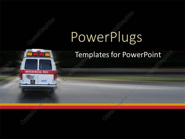 PowerPoint Template ambulance going to hospital for emergency at