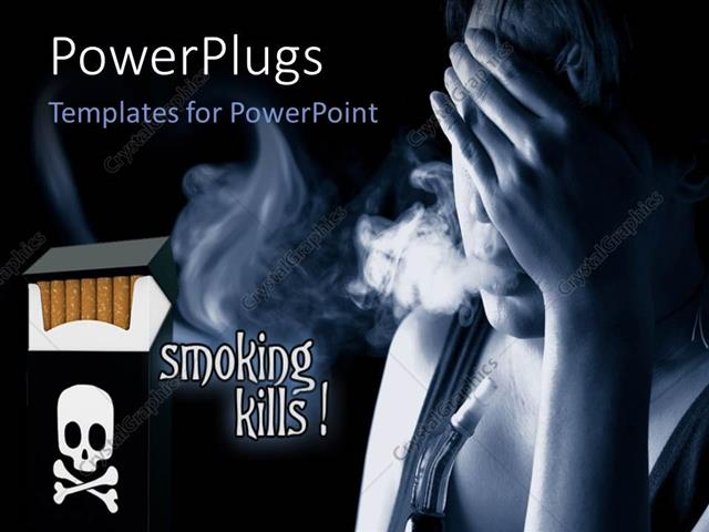 PowerPoint Template Anti-smoking flyer with cigarette and text