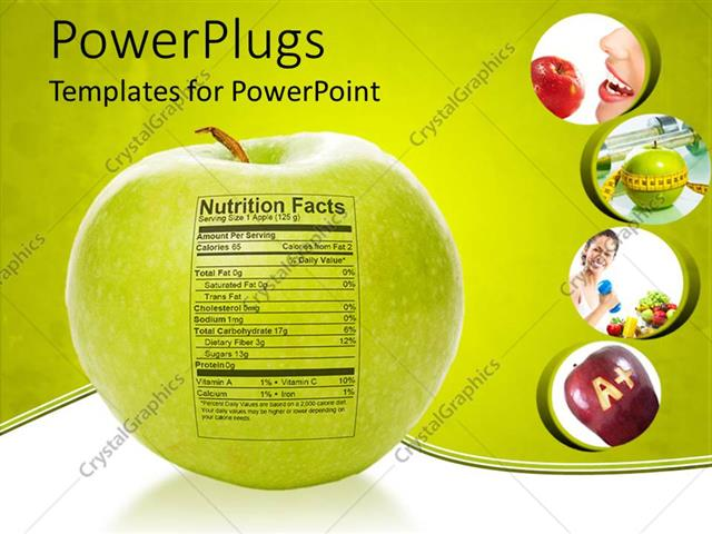 PowerPoint Template Apple nutrition facts, apple with measuring