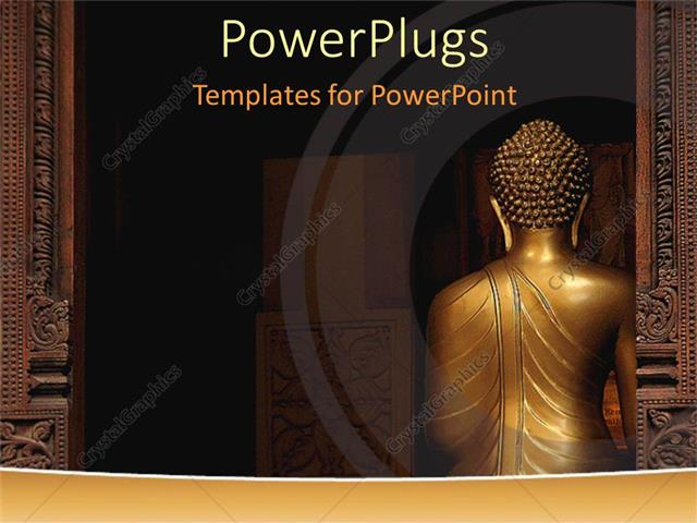 PowerPoint Template Back of a statue of Buddha with columns - buddhism powerpoint