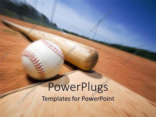 PowerPoint Template a baseball and a bat with blurred background (2897)