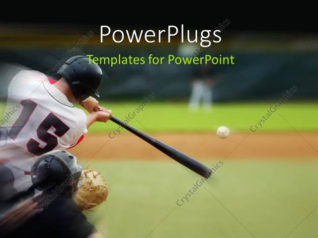 PowerPoint Template Baseball player immediately after hitting the