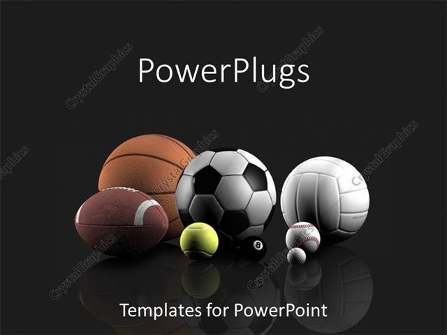 PowerPoint Template Basketball, football, tennis, volleyball, golf - football powerpoint template