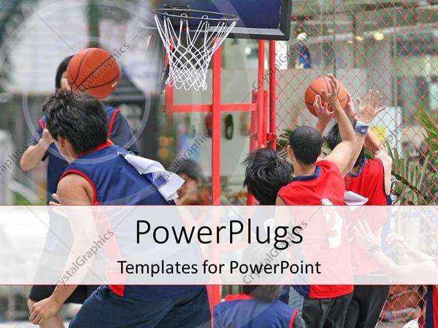 PowerPoint Template a basketball match going on with net in the