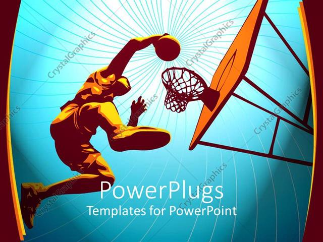 PowerPoint Template basketball player rises high to slam in the - basketball powerpoint template