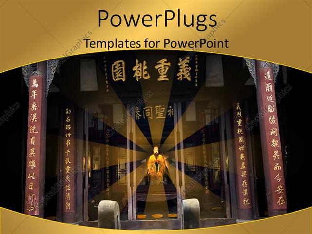 PowerPoint Template Beautiful Chinese memorial temple with king