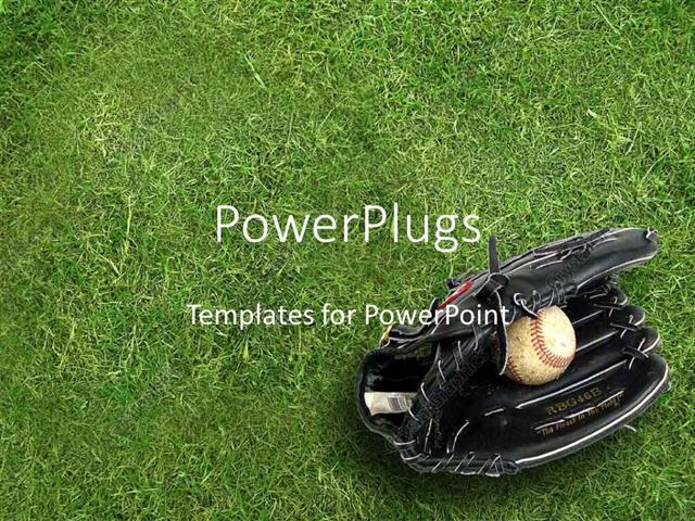 PowerPoint Template black baseball glove holding baseball ball on