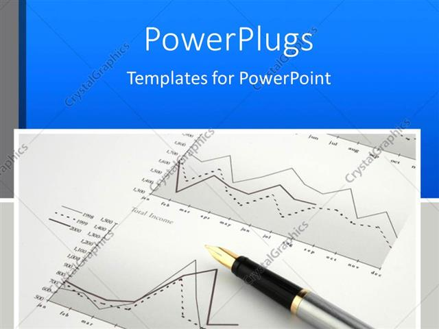 PowerPoint Template Black and silver colored pen on a finance graph - graph paper powerpoint