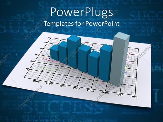 PowerPoint Template a blue bar chart on a white graph paper (2873) - graph paper powerpoint